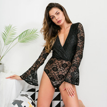 цена на Spring Sexy Lace V-neck Trumpet Long Sleeves Bodysuit Women 2019 Deep V-neck White Jumpsuits For Women Rompers
