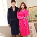 Free shipping New winter Home Furnishing flannel Nightgown Solid color Coral pattern couples Robe High quality thick pajamas