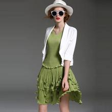 High Quality New Fashion Blazer Suits 2016 Spring Summer Women Notched Collar 3/4 Sleeve Elegant Small Coat Blazer Outerwear