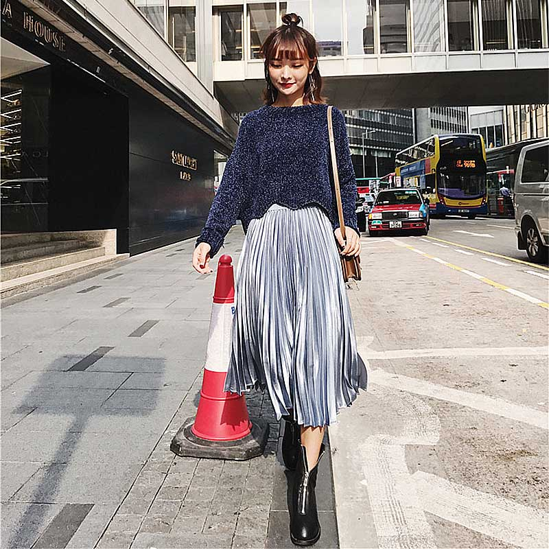 78853890fd 2019 New Arrival Fashion High Waist Solid Long Skirt Autumn Winter High  Quality Casaul Pleated Skirts Women jupe femme faldas-in Skirts from Women's  ...