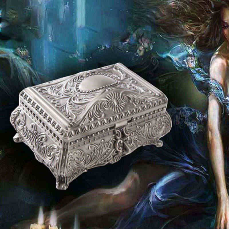 Retro European Zinc Jewelry Box Non-solid Wood Flannel Storage Box Metal Carving Princess Storage Box Girls Gift