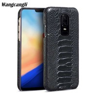 Wangcangli Natural Ostrich foot skin phone case for Oneplus 6 Genuine Leather phone case for Oneplus 3t 5 5t 6