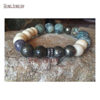 Raw Pyrite Pave Quartzs Tanzanites Stones Hand Carved Matte African Turquoises Bone Beaded Stack Bracelet BM10806