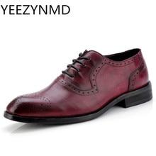 Обувь из натуральной кожи; нарядные туфли для мужчин в британском стиле; Туфли-оксфорды с острым носком; Весенняя Нескользящая деловая обувь; цвет черный, коричневый