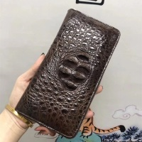 Authentic Real Alligator Leather Zipper Closure Men's Long Wallet Genuine Crocodile Skin Male Clutch Purse Large Card Holders
