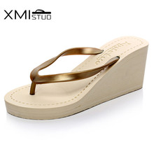 XMISTUO Women Pu Flip Flops Female Summer Beach Wedges Slippers Water-resistant 7CM High-heeled Slippers 4 Color 7076W xmistuo asual slopes with cool slippers ladiesnoble atmosphere on the grade high heeled shiny diamond slippers simple sandals