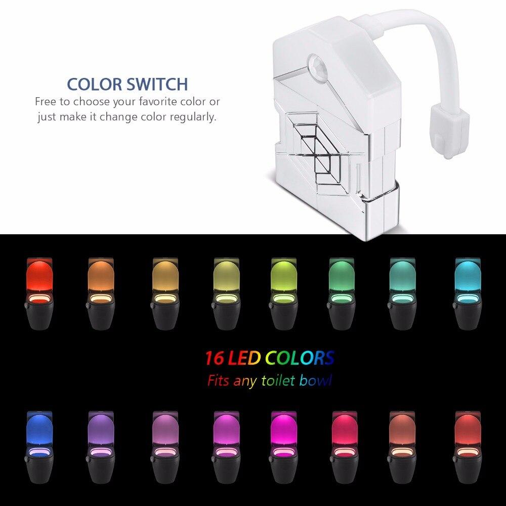 WENNI Toilet Light Motion Sensor LED Night Light Activated On/Off Lamp 16 Colors Backlight For Toilet Bowl PIR Bathroom WC Lamp