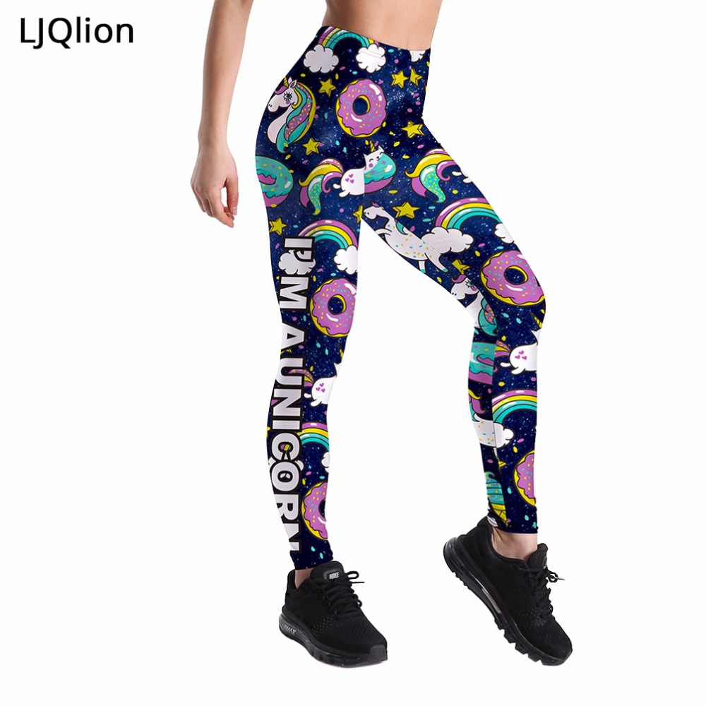 LJQlion Sporting Leggings High Waist Compression Pants Clothes Sexy Floral Print Women Fitness Pants2018