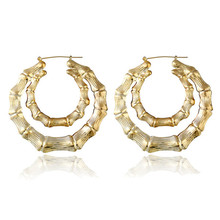 Exaggerated Double Circle Bamboo Joint Hoop Earrings Punk Gold Silver Color Brincos for Women Statement Jewelry Oorbellen