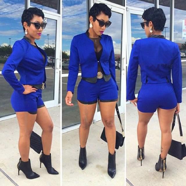 84a238ea96c Online Shop New fashion design 2016 full sleeve bodycon jumpsuit 2 piece  rompers women jumpsuit sexy ladies short jumpsuit M0353