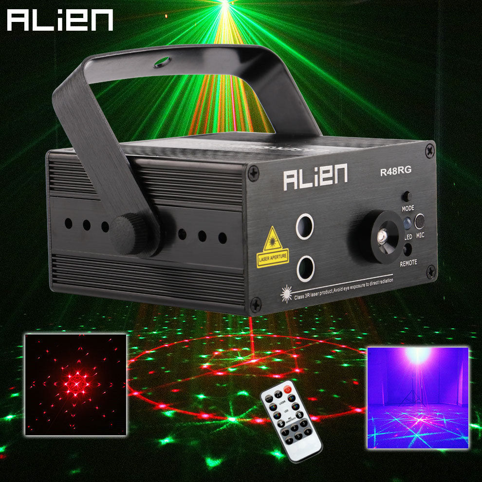 ALIEN RGB Mini 3 Lens 48 Patterns Mixing Laser Projector Effect Stage Remote 3W Blue LED Light Show DJ Disco Party Lighting mini rgb led stage light 3w remote controls light disco ball lights led party lamp show stage lighting effect usb powered dv 5v