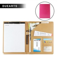 Rushed stationeries A4 holder size folder paper ring binder for documents business leather cover clip board office products