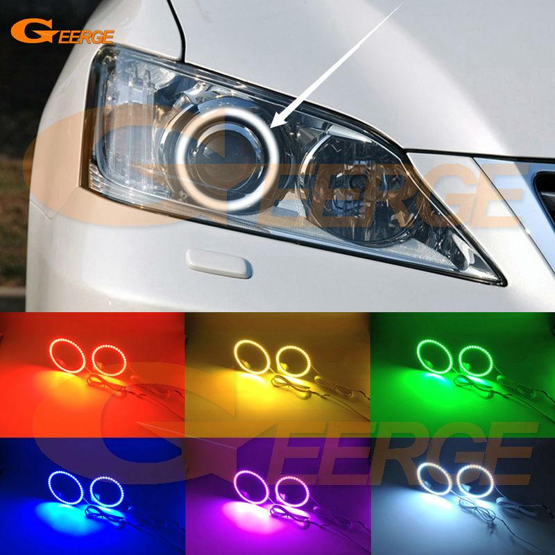 Для Lexus ES240 es350 и 2006-2012 отличная глаза Ангела многоцветные Ультра-яркий RGB LED Ангел глаза комплект гало кольцо