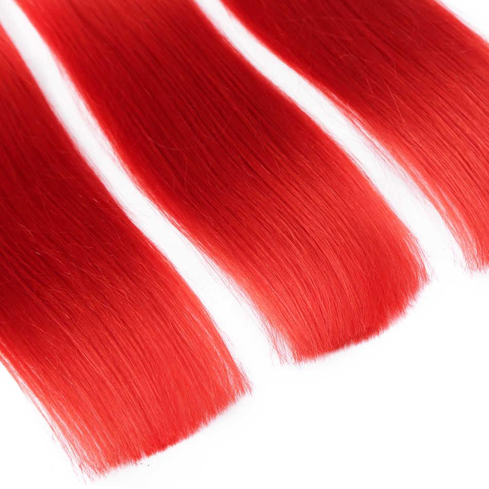 Wigir волосы прямые красные бразильские волосы remy переплетение розовый цвет человеческие волосы пучки 4 шт Наращивание 14 ''-24'' Бесплатная доставка