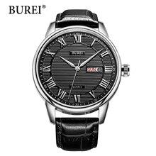 Hombres reloj burei top pantalla de calendario masculino hora correa de cuero genuino de la marca de moda de cuarzo resistente al agua relojes de pulsera de regalo caliente de la venta