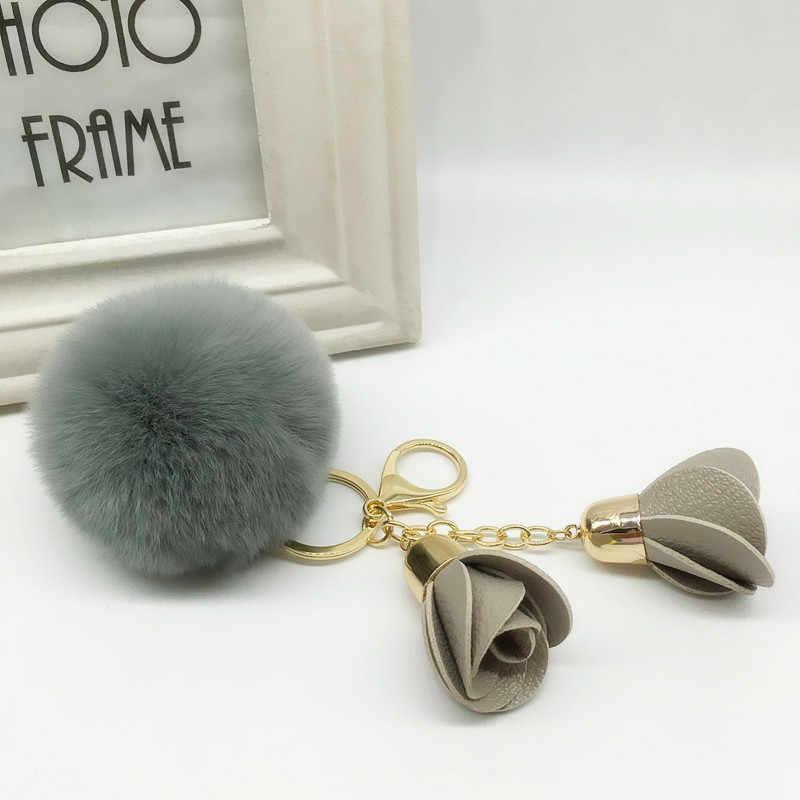 Новый брелок с меховым помпоном Настоящий мех кролика мяч ключ Chians меховой брелок Porte Clef LLavers брелок для сумки Шарм EH625