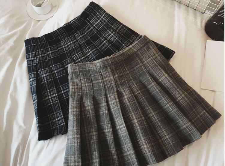 84c4c4d835 ... Fashion Autumn Winter Skirt Women Lady Schoolgirl Sexy Short Gray Navy Plaid  Pleated Skirt Mini Check ...