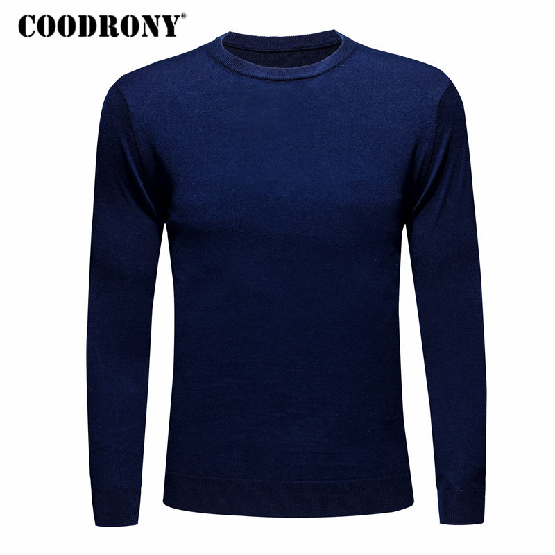COODRONY Sweater Men O-Neck Cashmere Wool Autumn Winter Casual 179 All-Match Pure-Color