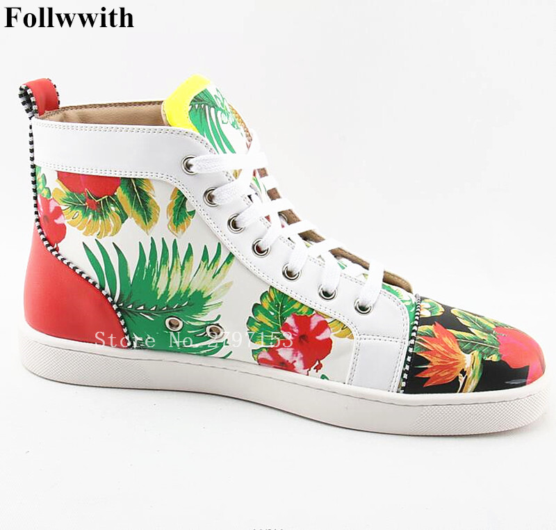2018 Follwwith Soft Leather Male Floral Rivet Cool Trainers Zapatillas Deportivas High Top Lace Up Flat Casual Men Shoes Fashion casual dancing sneakers hip hop shoes high top casual shoes men patent leather flat shoes zapatillas deportivas hombre 61