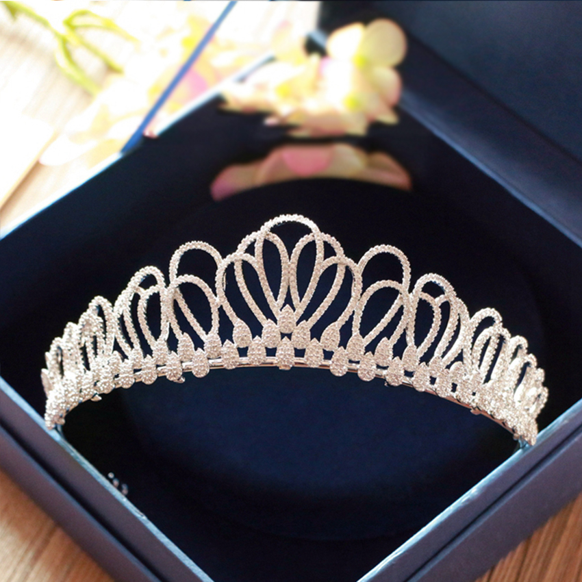 Zircon Crown Princess Wedding Tiara Brides Tiaras Crowns Pearls Wedding Hair Accessories Crystal Rhinestones Brides Diadem цена