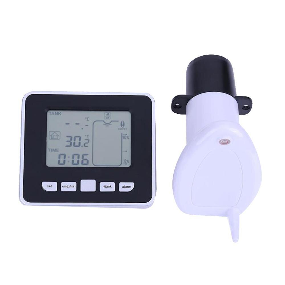 Wireless Ultrasonic Tank Liquid Depth Level Meter With Temperature Thermo Sensor Water Level Gauge