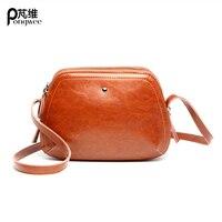 PONGWEE High Quality Genuine Leather Shoulder Bags Spring Small Casual Handbag Brown Blue Color Brand Designer