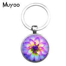 2017 Fashion Key Chain Mandala Photo Art Glass Cabochon Pendant Keychain Sacred Geometry Yoga Om Keyrings Glass Jewelry(China)