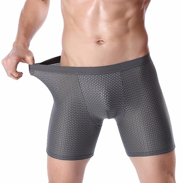 Compression Mesh Shorts Long Boxers Men Spandex Boxershorts Men Bamboo  Cueca Boxer Homme Breathable Long Leg Pouch Underpants 883255512843