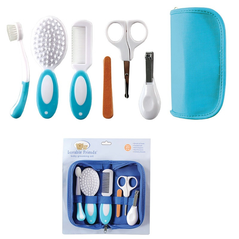 Купить с кэшбэком Luvable Friends Baby Grooming Care Manicure Set Toothbrush,Hair Brush,Comb,Nail File Boards,Nail Scissors And Nail Clipper NA12