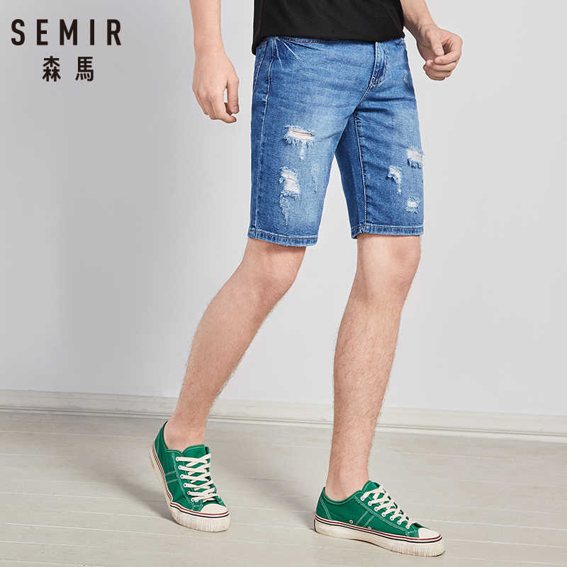 SEMIR Gat gat denim shorts mannelijke student zomer mannen dunne gedeelte jeans mannen vijfde broek trend losse Koreaanse versie