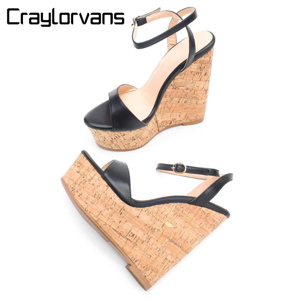 Craylorvans Wedges Women Summer Shoes 4.5CM Platform Shoes 15CM High Heels Sandals Black Ankle Strap Women Shoes Big Size 43 sgesvier european style ankle strap women summer shoes wedges high heels sandals platform causel shoes plus size 34 43 vv431