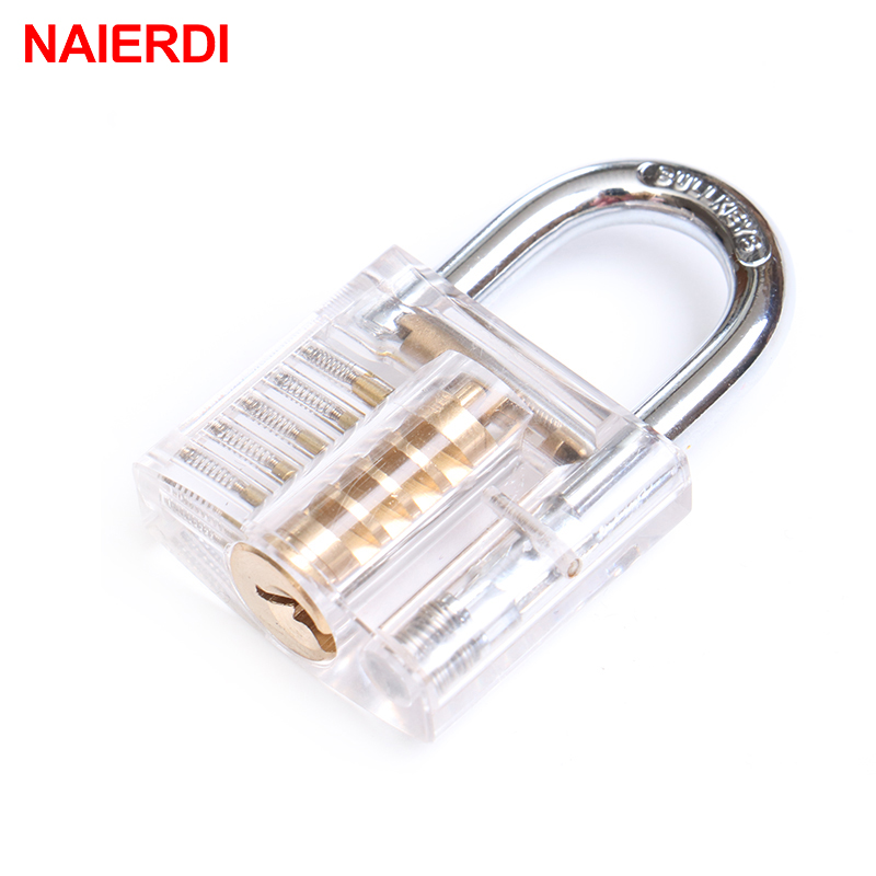 NAIERDI Locksmith Transparent Locks Pick Visible Cutaway Mini Practice View Padlock Hasps Training Skill For Furniture Hardware
