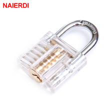 цена на NED Beautiful Design Modern Style Transparent Visible Pick Cutaway Mini Practice View Padlock Lock Training Skill For Locksmith