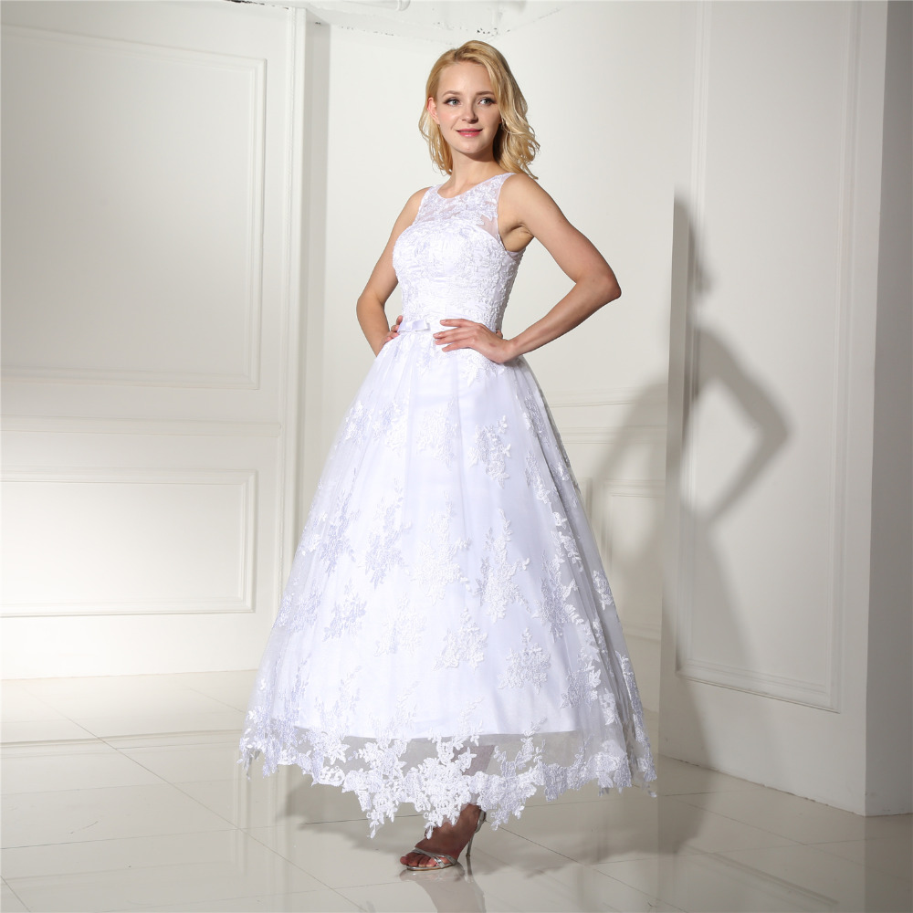 Favordear Mid Calf See Through Back Lace Tank Satin Sash Short Wedding Dress