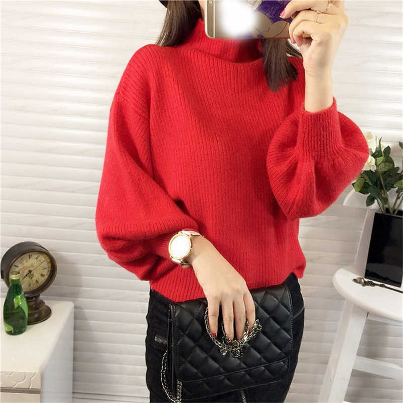 2018 весна осень зима Для женщин свитер Модные водолазки рукав фонарик рукавами Пуловеры свободные трикотажные свитеры для женщин женский джемпер Топ S7