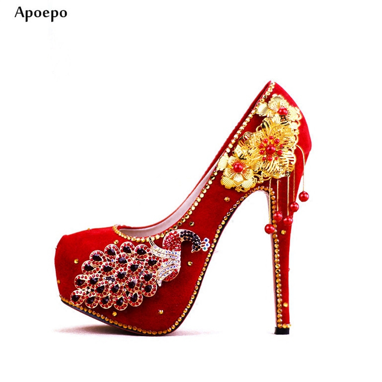 Apoepo Woman Wedding Heels 2018 Newest Red Platform Pumps for Lady Crystal Embellished High heel Shoes 14cm dress heels hot selling crystal embellished wedding heels sexy peep toe platform pumps woman high heel shoes