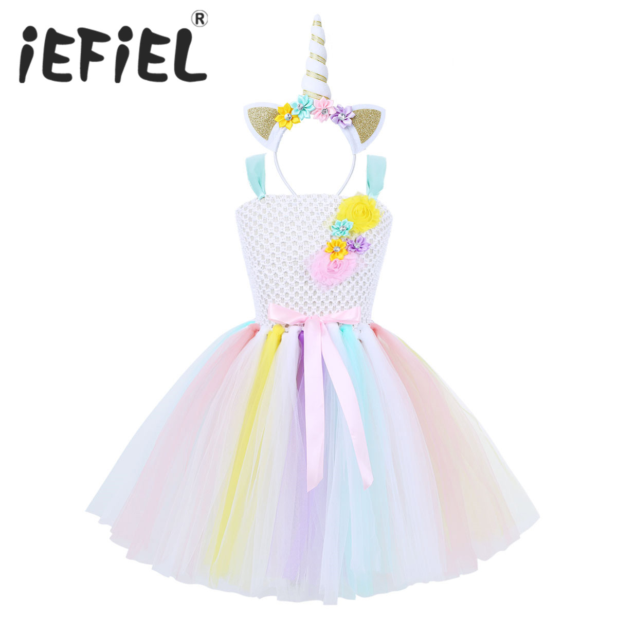 Girls Tutu Dress Fancy Rainbow Princess Party Tulle Dress With Headband Christmas Halloween Costume Kids Girl Dress Up Dress