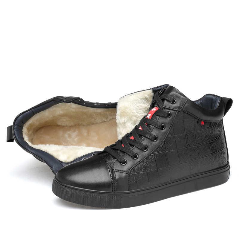 012219a77 ... Мужские ботинки ручной работы из натуральной кожи с теплым мехом,  большие размеры, Мужская зимняя ...
