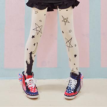 2016 nova cosplay lolita bonito calças justas estrelas e lua imprimir calças justas castal cópia do vintage calças justas Japão Japonês harajuku collants