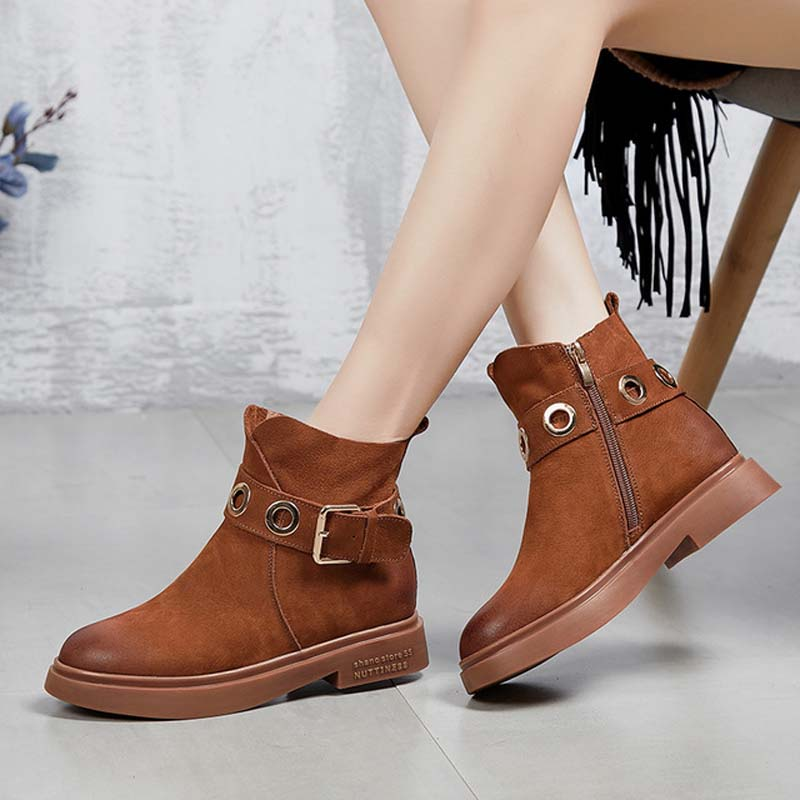 2018 new Martin boots female round head buckle boots children's autumn and winter leather single boots with thick heel boots цена 2017