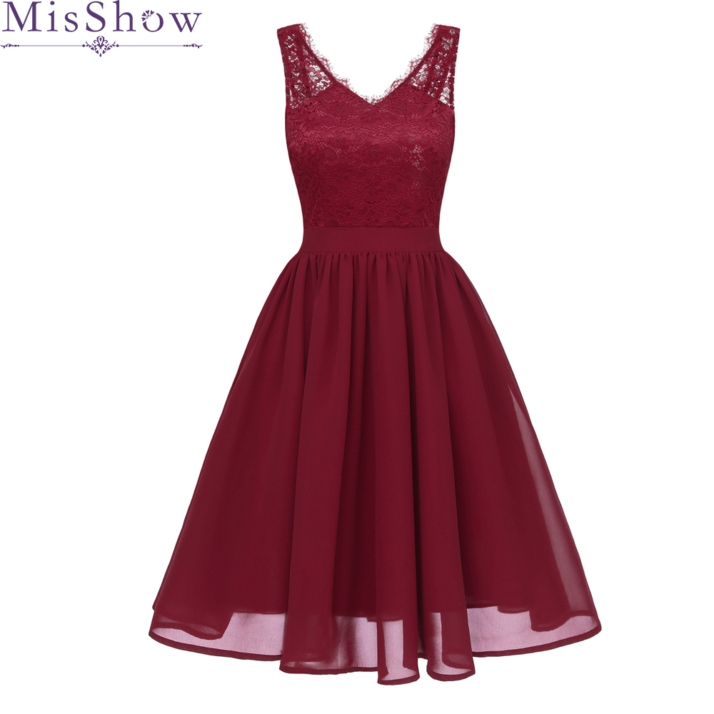 Elegant Lace V-Neck   Cocktail     Dresses   2019 Burgundy Sleeveless A-Line Summer Women Vestidos Sexy Women   Cocktail     Dresses
