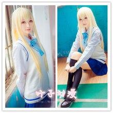 Uniforme Escolar japonés Cosplay Sunjing y Qiutong Alta Escuela De La Historieta Uniforme Set Sweater + Shirt + Skirt + Tie + calcetines