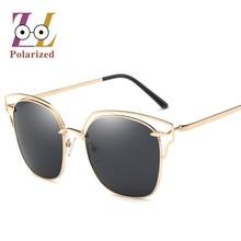 Одежда высшего качества новый бренд дизайнер Cat Eye поляризованных солнцезащитных очков зеркало Женщины Мода популярная личность солнцезащитные очки для Famale