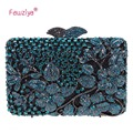 Fawziya Clutch Bag Crossbody Kisslock Flower Purses With Rhinestones Crystal Clutch Evening Bag