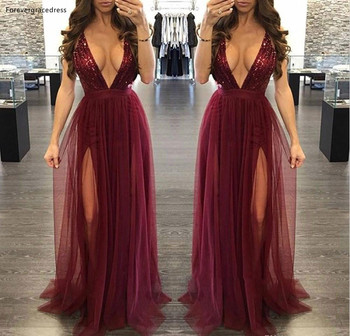 Burgundy Sequined Prom Dresses 2019 Plunging V-neck Formal Holidays Graduation Wear Party Gowns Plus Size Custom Made
