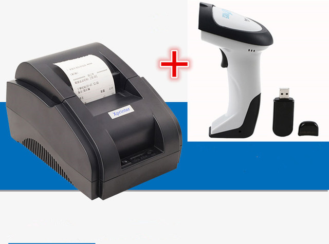 Wireless Scanner+pos printer Black and white Wholesale High quality 58mm thermal receipt printer machine USB interface