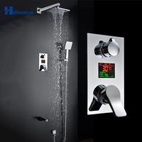 Haliaeetus Digital Display Bathroom Shower Set LED Wall Mounted Shower Faucet.3 Functions Tub Faucet Rainfall Bath Crane Shower
