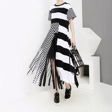 Nuevo 2019 estilo coreano mujeres verano largo vestido de rayas negras con borla señoras único Casual vestidos de fiesta estilo bata Mujer 5196