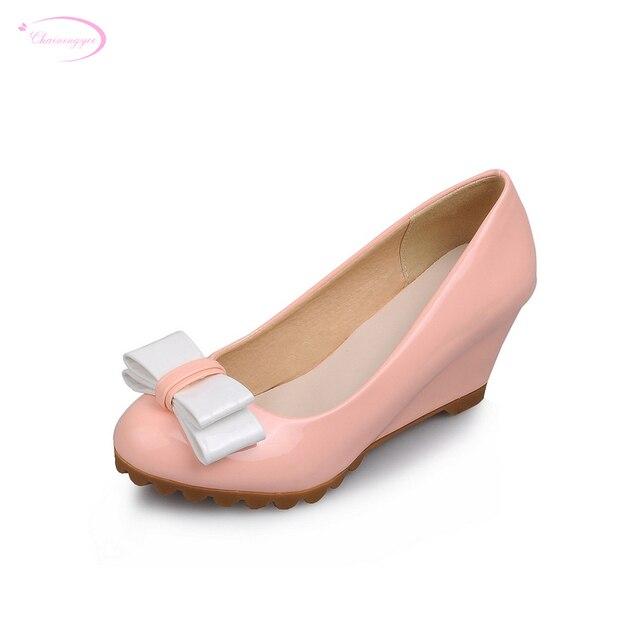 Chainingyee Gaya Manis Cat Bulat Ujung Fashion Campuran Warna Ikatan Simpul  Hitam Putih Pink Biru Bertumit 2d493301cd
