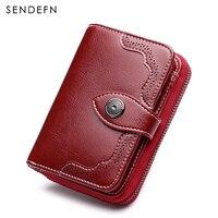 Sendefn Fashion Brand Women Wallets Split Leather Short Design Lady Retro Zipper Purse